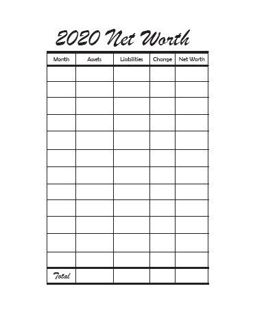 2020 Net worth Tracker Blank