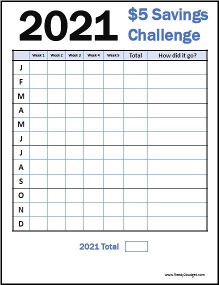 2021 $5 Savings Challenge