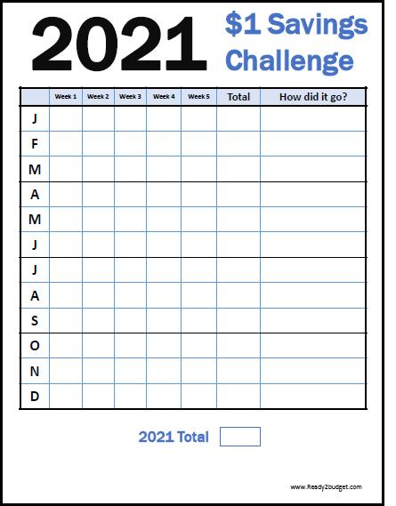 2021 $1 Savings Challenge